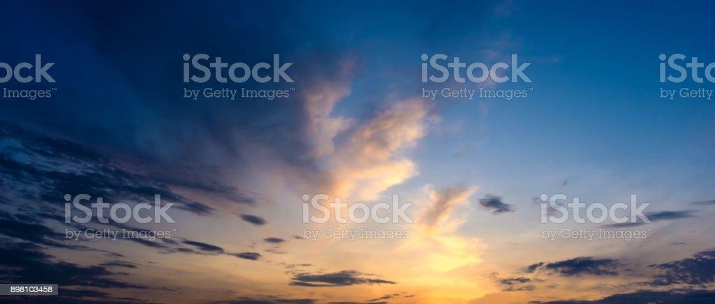 Panorama twilight morning sky and cloud stock photo