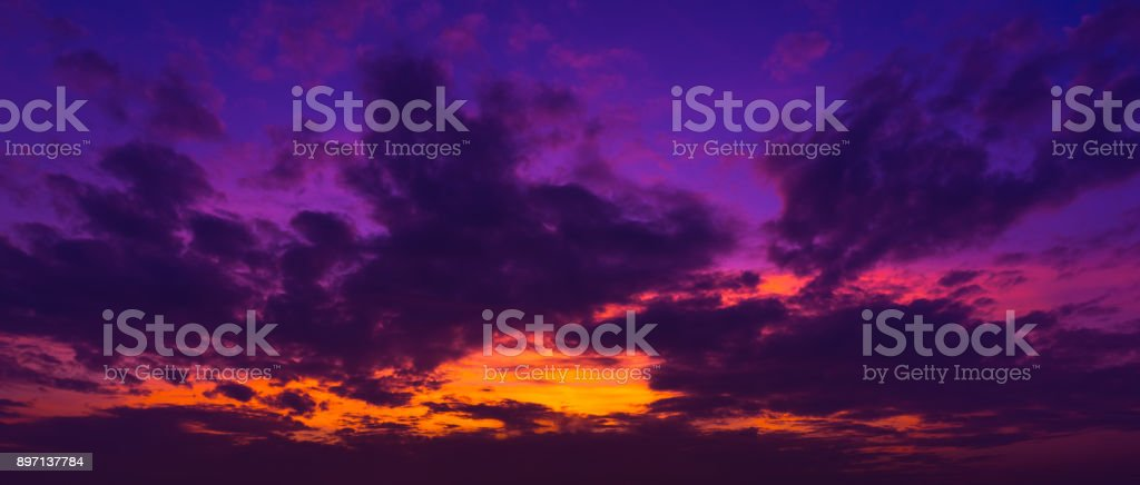 panorama twilight sky and cumulus cloud stock photo
