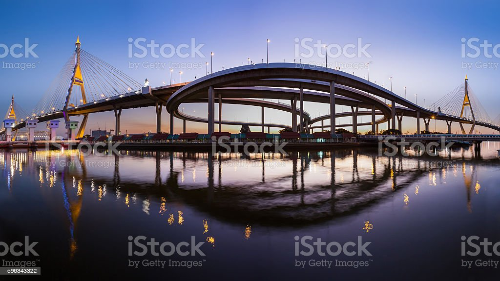 Panorama twin suspension bridge connect to interchanged royalty-free stock photo