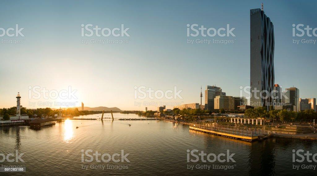 panorama vienna danube city and danube island stock photo