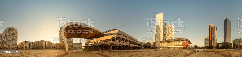 360 Panorama vienna uno city business buildings stock photo