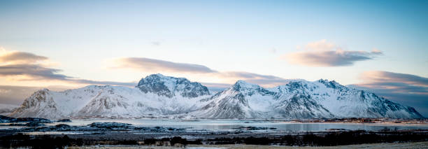 Panorama view at Gimsøya island in the Lofoten during winter stock photo
