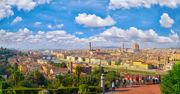 Panorama view from Michelangelo park square  ,Italy stock photo