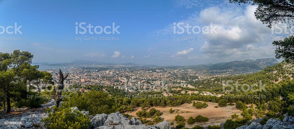 Panorama View from Mont Faron Toulon France stock photo