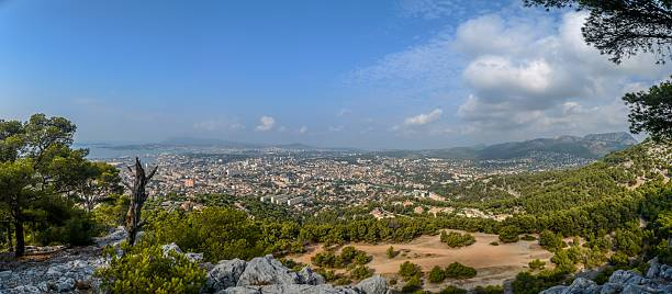 Panorama View from Mont Faron Toulon France City Toulon in France from Mont Faron panorama view var stock pictures, royalty-free photos & images