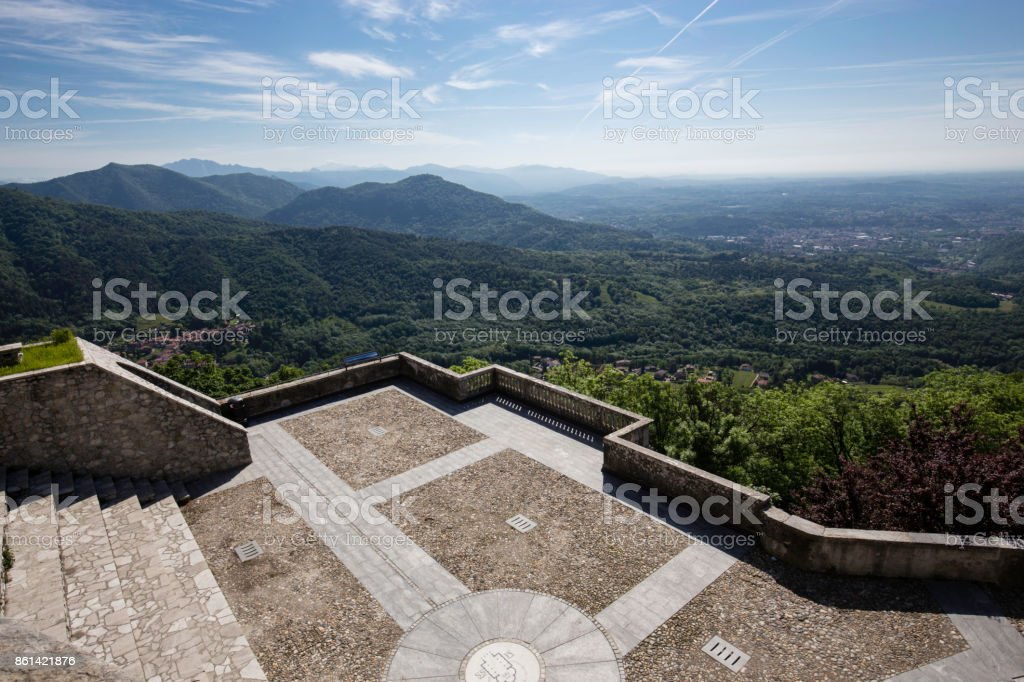 Panorama view from Sacro Monte in Varese, north Italy stock photo