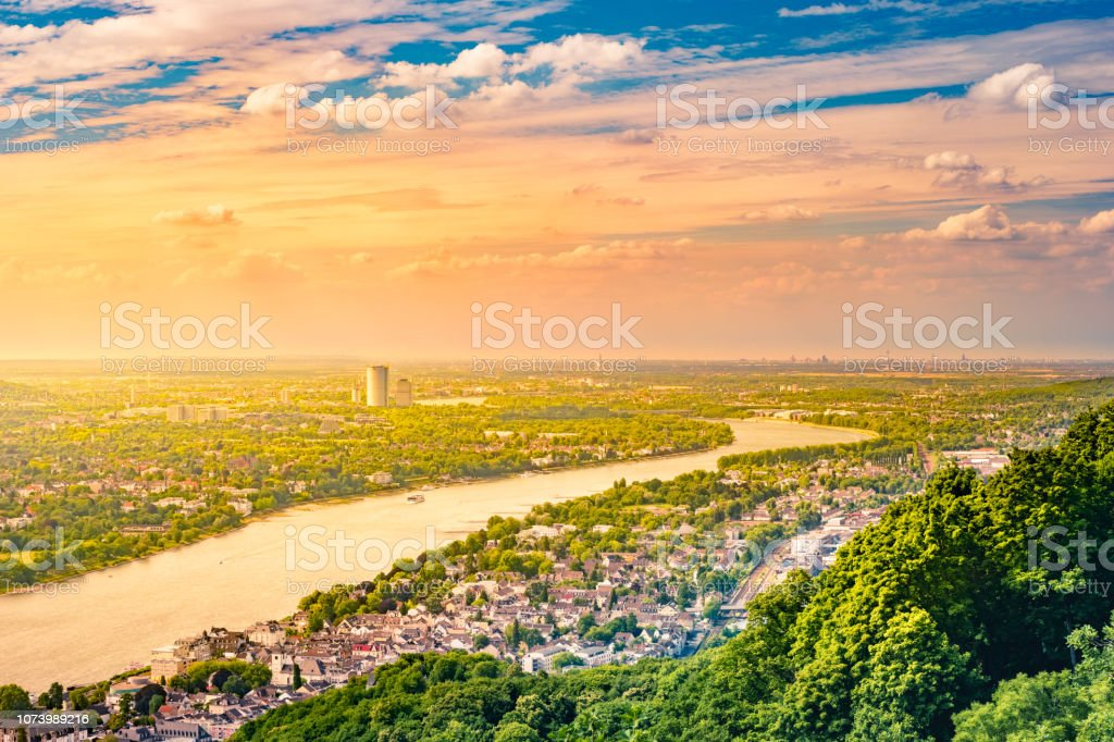 Panorama view from the Drachenburg, river Rhine and the Rhineland, Bonn, Germany, Europe stock photo