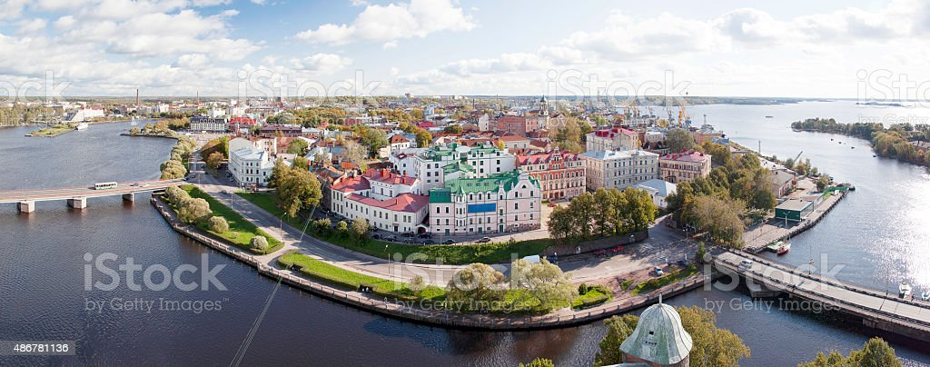 Panorama view from the observation deck of Vyborg Castle. stock photo