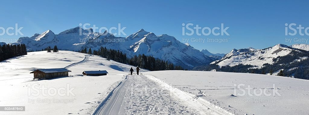 Panorama view from the Wispile, Swiss Alps stock photo