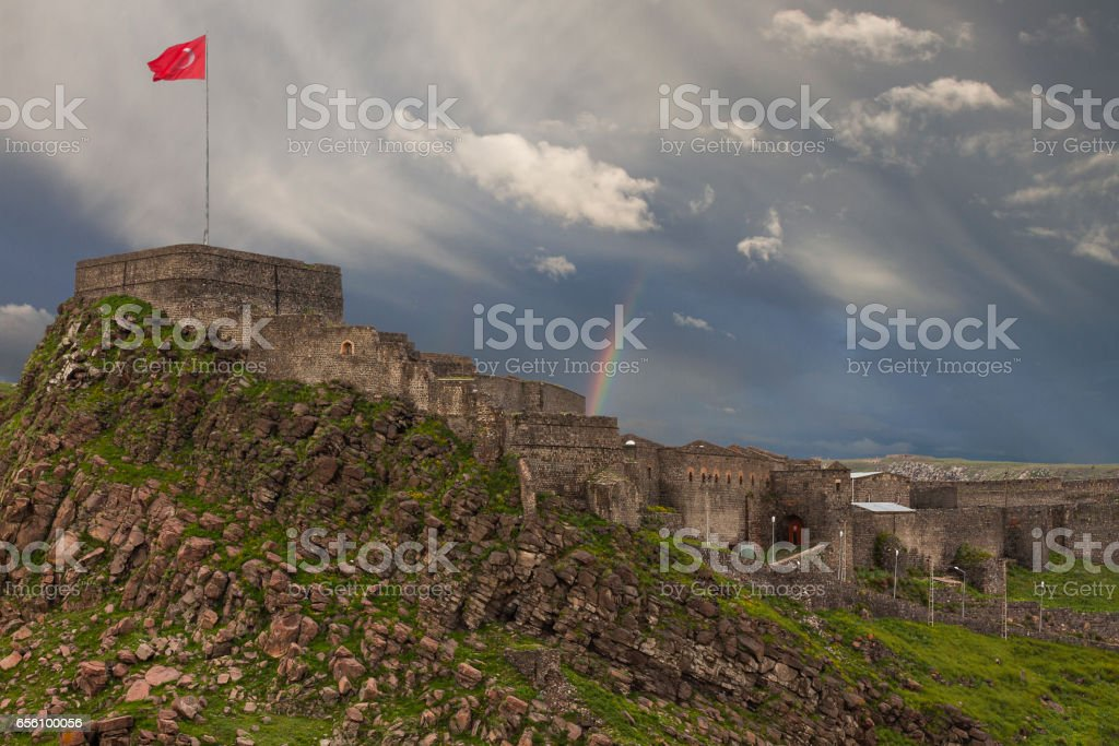 Panorama view in Kars with a rainbow in the background, Turkey stock photo