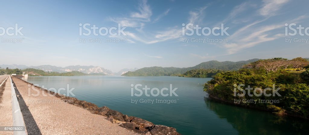 Panorama view in Ratchaprapha Dam royalty-free stock photo