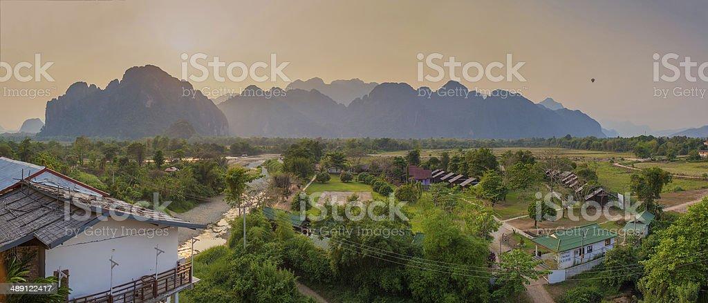 Panorama view in Vang Vieng, Loas stock photo