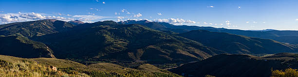 Panorama View Looking North to South Avon Beaver Creek Colorado Panorama View Looking North to South Avon Beaver Creek Colorado - Landscape scenic from vista with commanding view of Vail/Eagle Valley, Colorado USA. avon colorado stock pictures, royalty-free photos & images