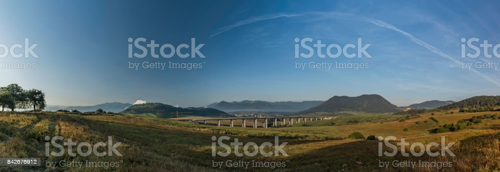 Panorama view near Ruzomberok town with highway bridge stock photo