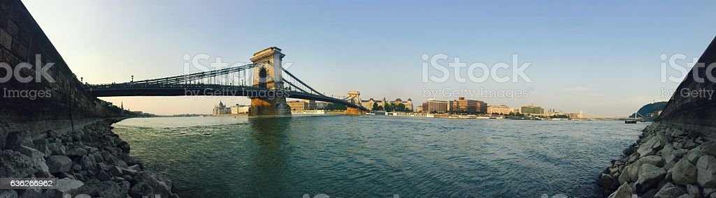 Panorama view of a bridge over the Danube in Budapest stock photo