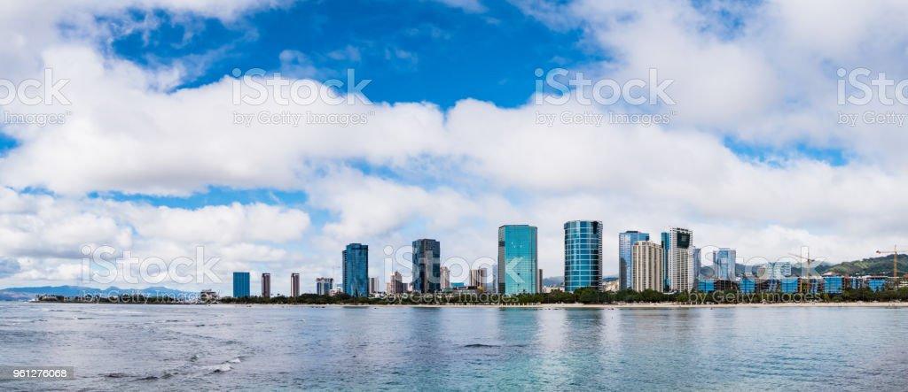 Panorama view of Ala Moana Beach including the hotels and buildings in Kakaako district, Honolulu, Oahu island, Hawaii, USA stock photo