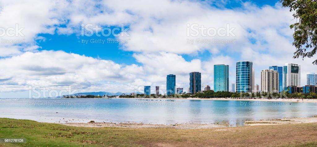 Panorama view of Ala Moana Beach including the hotels and buildings in Ala Moana, Honolulu, Oahu island, Hawaii, USA stock photo