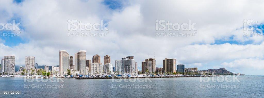 Panorama view of Ala Wai Boat Harbor and Diamond Head Crater including the hotels and buildings in Waikiki, Honolulu, Oahu island, Hawaii, USA stock photo