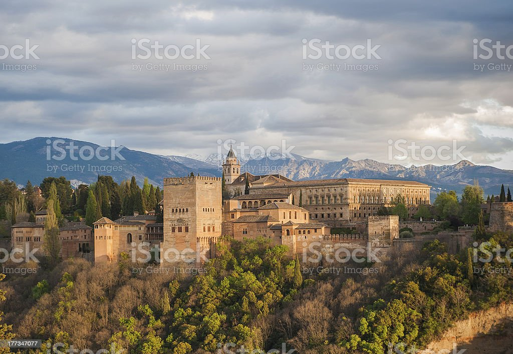 Panorama view of Alhambra palace, Granada, Spain stock photo