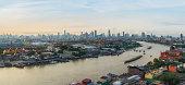 Panorama view of Bangkok city at evening, Chaopraya River, Bangkok, Thailand