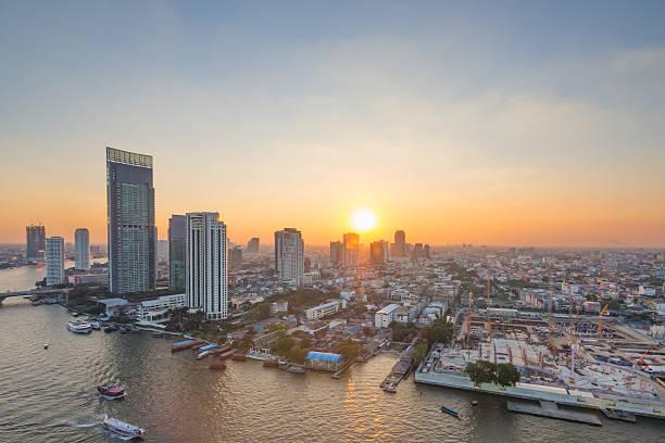 Panorama view of Bangkok city scape stock photo