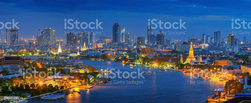 Panorama view of bangkok stock photo