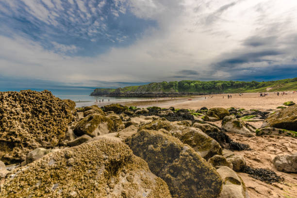 Panorama view of barafundle bay stock photo