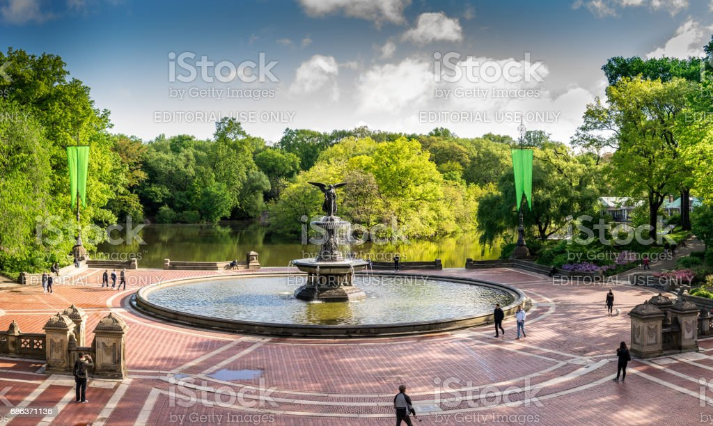 Panorama view of Bathesda Fountain in Central Park New York stock photo