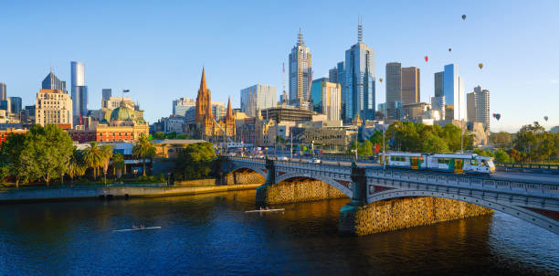 Panorama view of beautiful Melbourne cityscape skyline stock photo