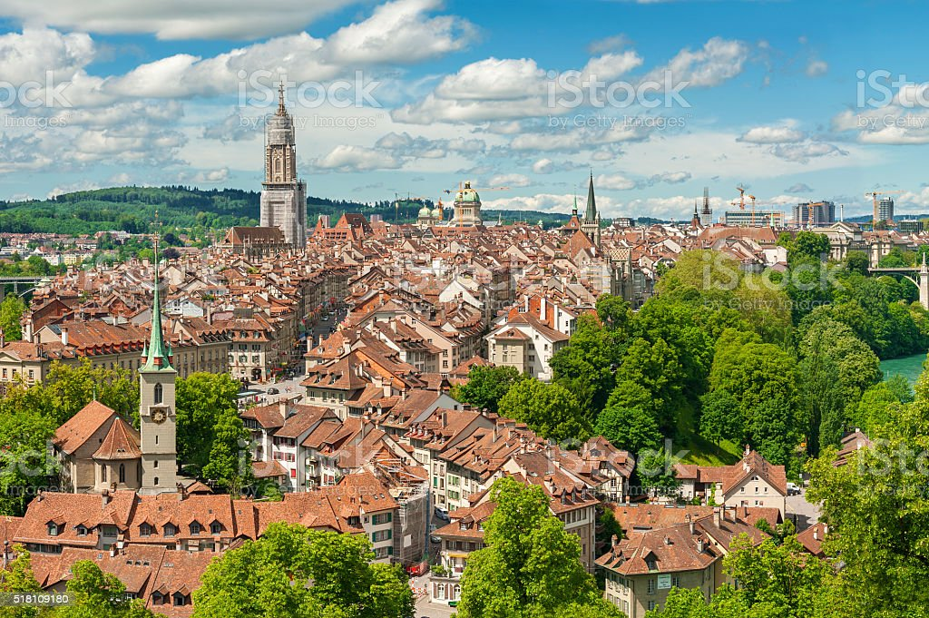Panorama view of Berne, Swiss stock photo