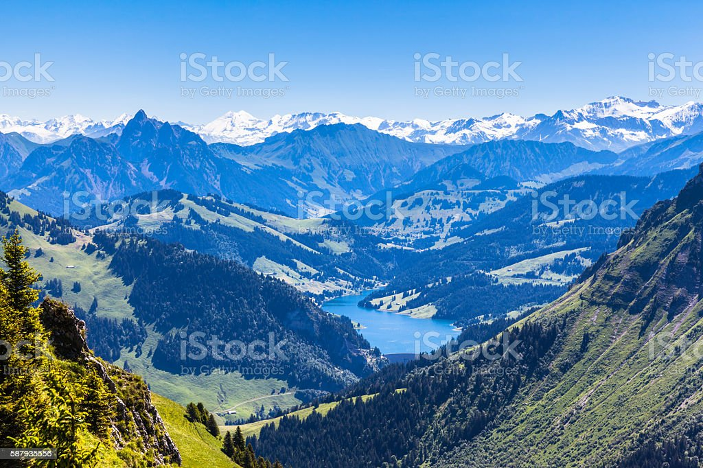 Panorama view of Bernese Alps from Rochers-de-Naye - アイガーのロイヤリティフリーストックフォト