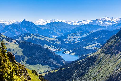 Panorama View Of Bernese Alps From Rochersdenaye - アイガーのストックフォトや画像を多数ご用意