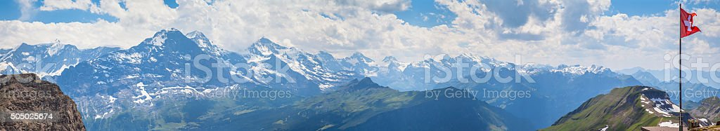 Panorama view of Bernese Alps stock photo