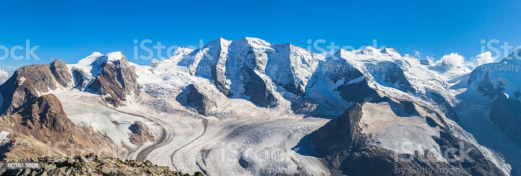 Panorama view of Bernina massive and Morteratsch glacier stock photo
