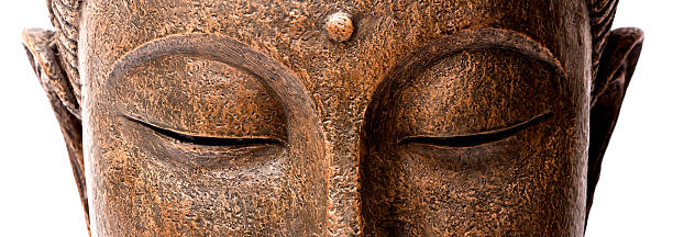 panorama view of buddha's face - buddha stock photos and pictures