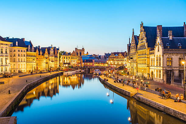 Panorama view of Ghent canal in Belgium Panorama view of Ghent canal in Belgium. belgium stock pictures, royalty-free photos & images