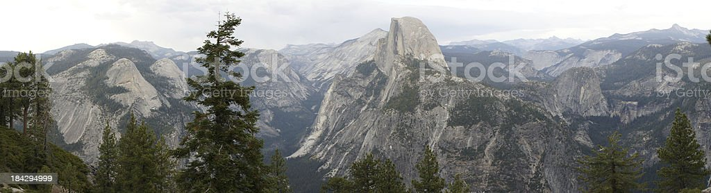 Panorama View of Half Dome from Glacier Point stock photo