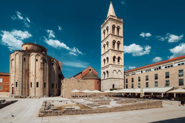 panorama view of historic center in Zadar, Croatia stock photo