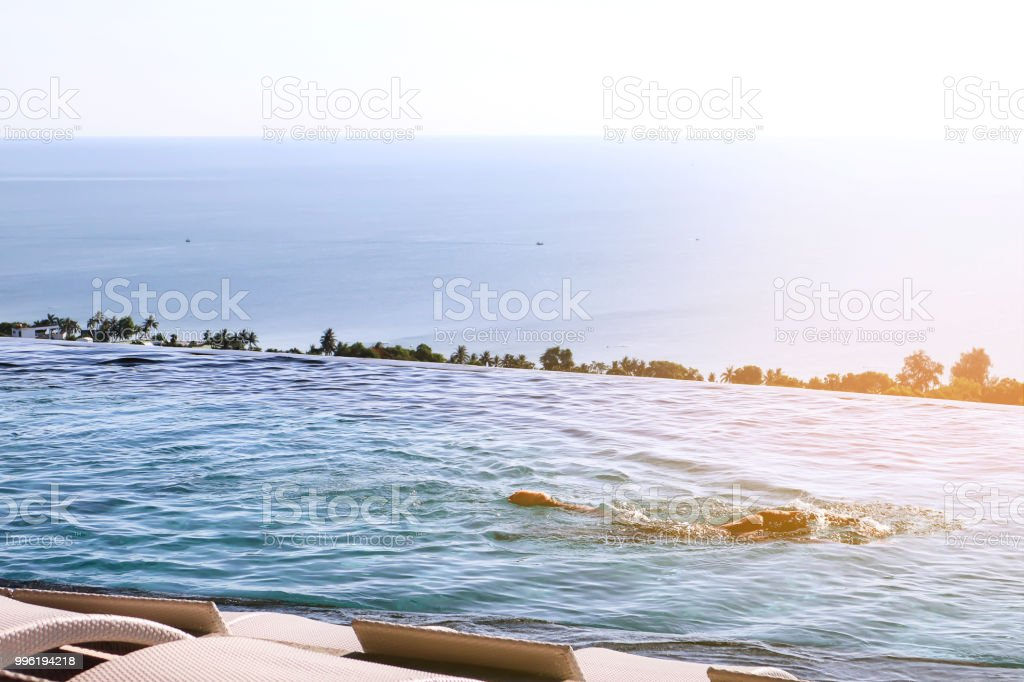 Panorama View Of Infinity Edge Swimming Pool With Open View ...
