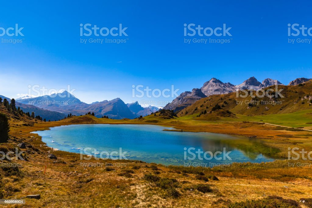 Panorama view of lake Lai da Vons stock photo
