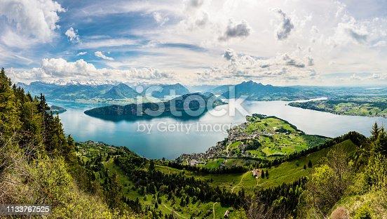 istock Panorama, view of Lake Lucerne and Weggis from the Rigi, Switzerland, Europe 1133767525