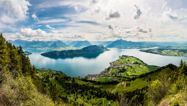 panorama, view of lake lucerne and weggis from the rigi, switzerland, europe - lucerne stock pictures, royalty-free photos & images