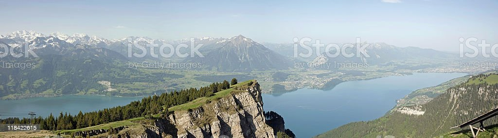 Panorama View of Lake Thun and Bernese Alps royalty-free stock photo