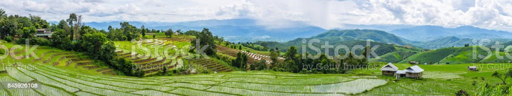 A panorama view of local houses, little hut and Rice terrace in a...