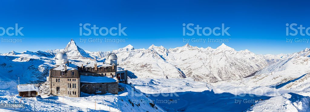 Panorama view of Matterhorn and Pennine Alps Massive from Gorner stock photo