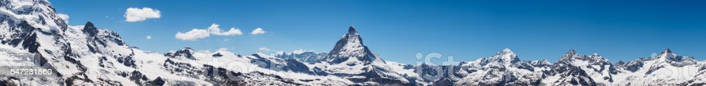 Panorama view of Matterhorn peak in sunny day stock photo