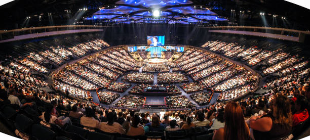 Panorama view of mega-church Panorama view of mega-church near Houston, Texas place of worship stock pictures, royalty-free photos & images