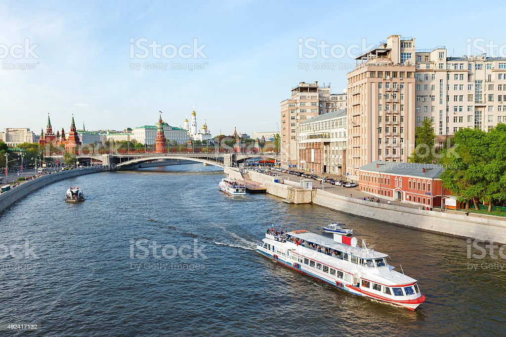 Panorama view of Moscow - Moscow-river. stock photo