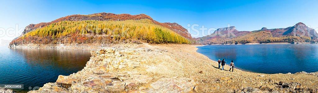 Panorama view of mountain and river at fall season royalty-free stock photo