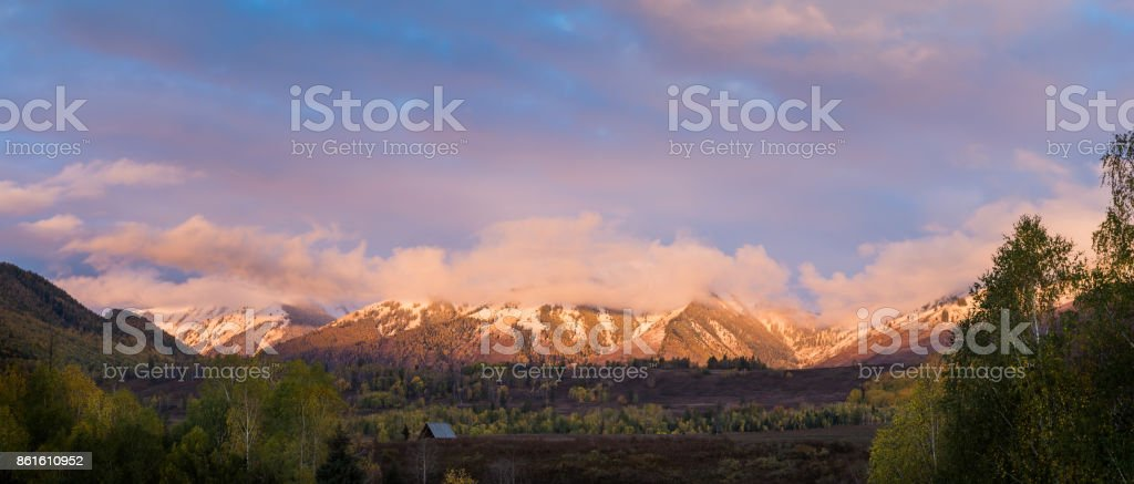 Panorama view of mountain from Hemu village in morining with pink sky stock photo